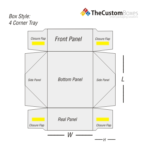 four-corner-tray-flat-view-template