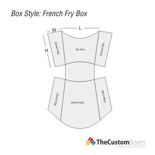 French fry boxes custom packaging design and printing for French fries packaging template